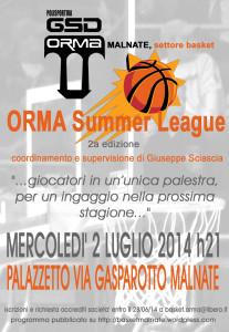 Locandina 2a ORMA Summer League 2014