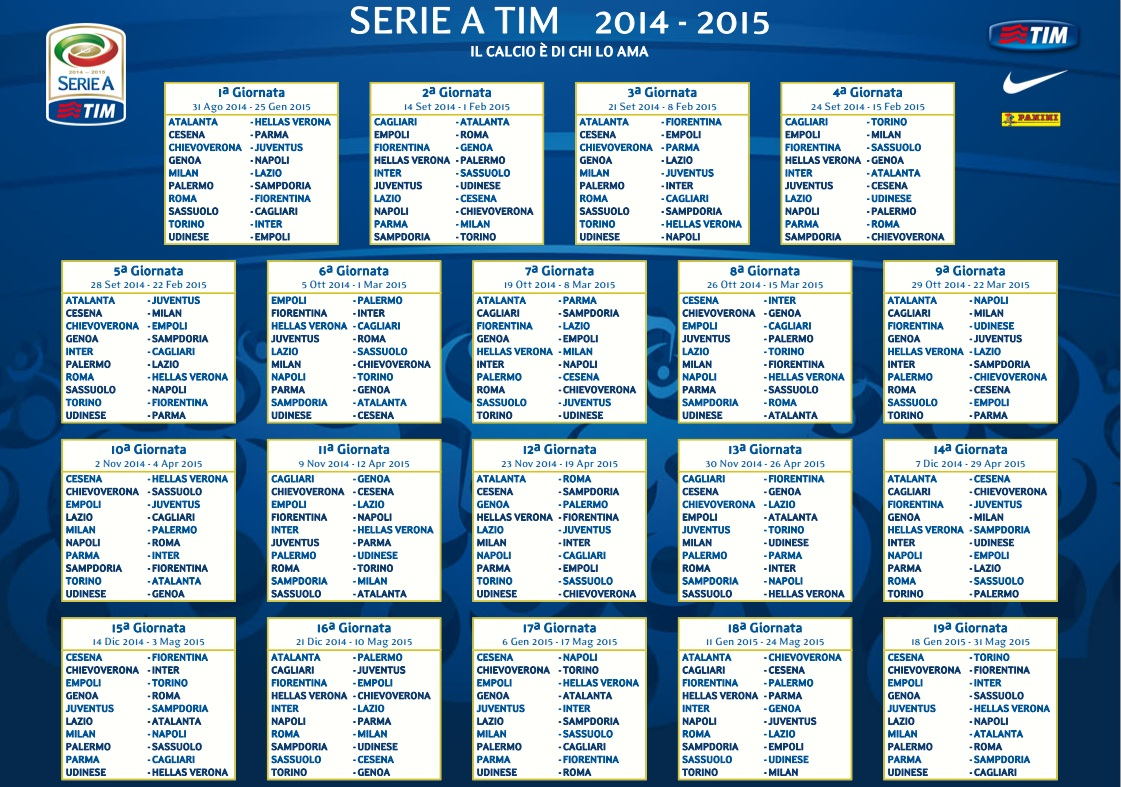 Calendario Juventus In Casa.Serie A Ecco Il Calendario Juve E Inter Partono In