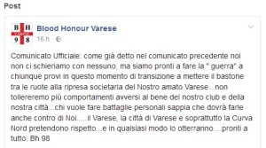 comunicato blood honour