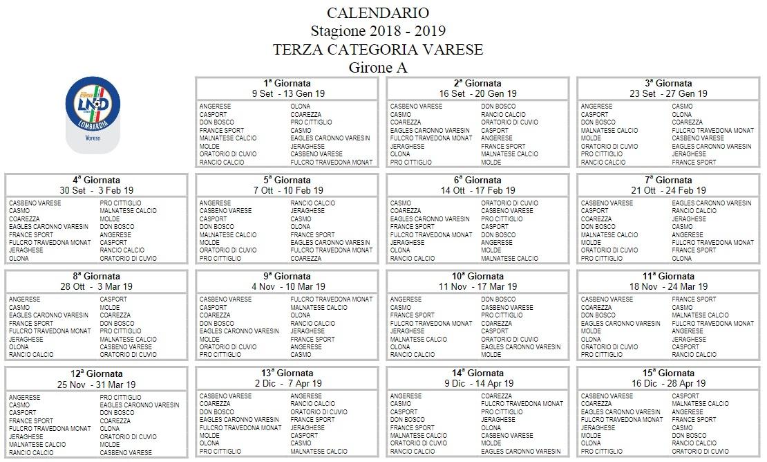 Calendario Terza Categoria.Ecco Il Calendario Malnatese In Casa Casbeno In Trasferta