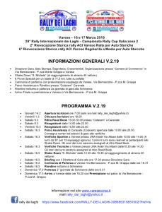 programma rally dei laghi 2019